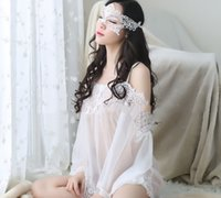 Wholesale See Through Nightgown Woman - New style Lace See-through look Sexy lingerie For women grenadine pajamas pure white sexy sleepwear thin with underwears