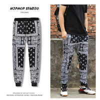 Wholesale Boys Hip Hop Trousers - Wholesale-Designer Bandana Pants Paisley Harem Drop Crotch Baggy Pants Hip Hop Joggers Pants for Men Sweatpants Trousers Male Boys Black