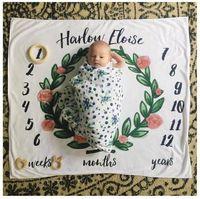 Wholesale Girls Flower Bedding - Infant Baby Boys Girls flower blankets figure Photograph letter Blanket Children Nursery Bedding Kids Photograp Blankets & Swaddling 2Style