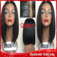 Atacado Full Lace Wigs Black Short Straight Bob Perucas para Mulheres Negras Resistente ao calor Glueless Synthetic Lace Front Wigs with Baby Hair
