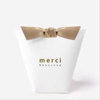 Wholesale white paper gift boxes - 50pcs lot MERCI BEAUCOUP White Black Color Gift Boxes Paper Cake Box Wedding Favor Boxes Candy Box With Ribbon