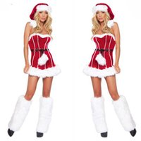 Wholesale Sexy Cosplay Babes - Sexy Costumes Red Christmas One-Piece Garment Holiday Party Cosplay Miss Santa Babe Ladies Fancy Dress Xmas Party Costume Free Size