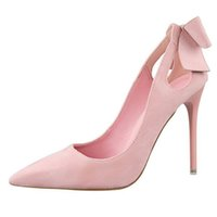 Wholesale Day After Wedding Dress - Brand Women Shoes Thin Heels Hollow Out After Suede Bowknot Stiletto Pointed Toe Shallow Mouth High Heels Woman Party Shoes