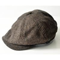 şapkalı şapkalar toptan satış-Toptan-Moda Sekizgen Kap Newsboy Bere Şapka Sonbahar Ve Kış Erkekler Popüler Tasarım Yakışıklı Ekose Rahat Şapka Bere Kap