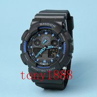 Wholesale Led Watch Gold - AAA luxury brand watch men G All pointer work GA100 Men sports watches LED light watch running hiking digital shock 100 watches with Box