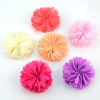 100pcs / Lot 6 .0cm Tecido artificial Chiffon Flower Headwear para o vestido Kids Headband Flower Accessory Hair Floral Flatback Th220