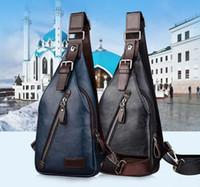 Wholesale Sling Bag Zipper Leather - New Men PU Leather Sling Chest Bag Travel Cross Body Messenger Shoulder Pack