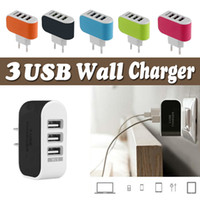 Wholesale Colorful Wall Adapters - Wall Charger EU US Plug 3 Ports LED USB Charger Home Plug Travel Colorful Charger Adapter For iPhone X 8 7 Plus 6s 6 Samsung S8 S7 Note 8