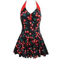Wholesale Dots Polka Waist Dress - Newest Sexy women One Piece Dress Swimwear Monokini Halter Vintage Swimsuit Beachwear Backless Solid Color Plus Size