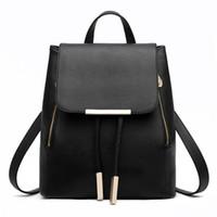 Wholesale Korean Fashion Yellow Satchel Bag - Backpack High Quality PU Leather Mochila Gir 2017 New Female Students Backpack Fashion Casual Korean Style Shoulder Bag