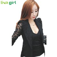 Wholesale Ladies Fitted Jackets - Wholesale- Spring Autumn Fashion Women Slim Fit Lace Long Sleeve Single Button Jacket Lady Overcoat Coat Outwear Manteau Chaqueta Oct20