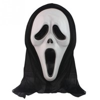 Venta al por mayor-2016 nueva máscara de Halloween Masquerade Latex Party Dress Ghost Scary Scream Mask cara Hood Unisex
