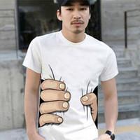 büyük el tişörtü toptan satış-Moda erkek Giyim O-Boyun Kısa Kollu Erkek Gömlek 3D Büyük El T Shirt erkek Tişörtleri Adam Ücretsiz nakliye Için Tees Tops