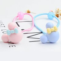 Wholesale Plastic Hair Bow Holders - Kids Girl Ponytail Holder Cartoon Mickey Bowknot Shape Colorfully Boutique Bows Elastic Hair Bands Baby Mini Rubber Band Hair Rope