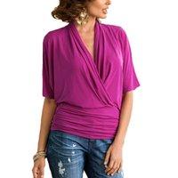Wholesale Women Stretch Batwing Blouse - Fashion Hot Summer Blusas 2017 Women Blouses V Neck Stretch Slim Batwing Short Sleeve Tops Blouse Shirts S-XL