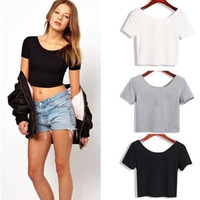 Wholesale Bare Midriff - Summer Sexy Crop Top Ladies Short Sleeve t shirt women tops Basic Stretch high short T-shirts Bare-midriff solid color easy match o-neck