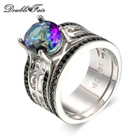 Wholesale Gold Multicolor Rings - 2 Round White Gold Plated Multicolor CZ Diamond Ring Sets Fashion Jewelry For Women & Men Party Gift Wholesale DFDD046