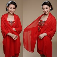 Wholesale Evening Jacket Woman - Long Chiffon Bridal Wedding Jacket Shawl Custom Made Bridal Accessories Women Sunscreen Scarves 200*75 cm Evening Prom Summer Wraps