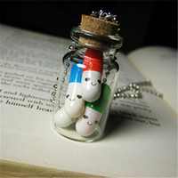 colgantes vial al por mayor-12pcs / lot Happy Pills Necklace Glass Bottle Necklace Vial colgante de plata tono