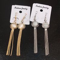 Silver Gold Color Long Dangle Earrings para Mulher Copper Metal Tassel Brincos Opal Stone Round Earrings EB