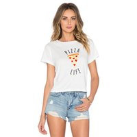 Wholesale Pizza Brands - Wholesale- Brand H469 Women Pizza Letters Print T shirt Cake Crop Tops Short Sleeve Shirts Casual Tops