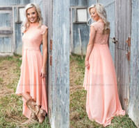 Wholesale Chiffon High Low Dress Peach - Peach Country Style High Low Bridesmaid Dresses 2017 High Neck Cap Sleeves Lace Top A Line Summer Beach A Line Chiffon Maid Of Honor Gowns