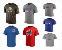 Wholesale Tall Man Shirts - MLB Mens Chicago Cubs T-Shirts 2017 Baseball Jerseys Tshirts Big & Tall Banner Cubs Salute To Service Royal Blue Grey Green