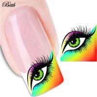 unhas decalques água venda por atacado-Olhos encantadores Etiqueta Do Prego Decalque Nail Tools Transferência de Água Manicure Art Adesivos de Beleza Acessórios de Unhas