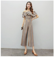 Wholesale Rompers Womens Jumpsuit Summer Fashion Women Slash Neck Ruffle Pant Suits One Piece Set Women Vintage Stripe PlaySuit