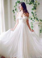 Wholesale Affordable Sweetheart Wedding Dresses - Affordable Wedding Dresses Off The Shoulder Sweetheart Chiffon Long Wedding Dresses Sexy Backless Cheap Wedding Dresses