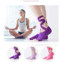 Wholesale socks ribbons - 8 Colors Women Yoga Socks Paired Ladies Gym Yoga Sock Dancing Anti slip Five Toe Cotton Sock With Ribbon Fast