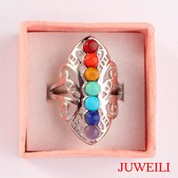 JUWEILI Jóias Hot Sale 10pcs Beautiful 7 Chakra Beads Butterfly Silver Plated Adjustable Finger Rings Charms European Women Lovers Gift