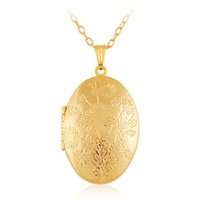 Wholesale Brass Oval Frame - Wholesale Jewelry Big Oval Charm Lockets Necklace 18k gold plated Photo Locket Frame Flowers Pendant Necklace For women Girls Free shipping
