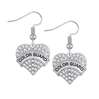Wholesale Rhinestone Heart Dangle Charms - COLOR GUARD Fashion Design Crystals Embedded CHIHUAHUAMOM Engraved Charm Earrings Heart Letter Best Friend Drop Earring Women Jewelry Gift
