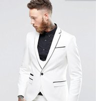 Pant Suit black and white fly vest - Custom Made men suits White And Black Tuxedos suits Men s Wedding Prom Dinner Suits Best man tuxedos jacket vest pants