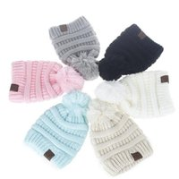 Wholesale Oversized Beanie Cap - CC Trendy Beanie CC Knitted Hats Kids Chunky Skull Caps Winter Cable Knit Slouchy Crochet Hats Fashion Outdoor Warm Oversized Hats B2561