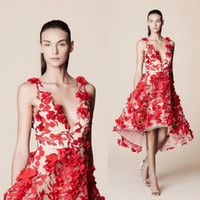 Wholesale Evening Dresses Flower Print - Red High Low 2017 Printed Prom Dresses Marchesa Notte Deep V Neck 3D-Floral Appliques Tulle Short Illusion Evening Gowns
