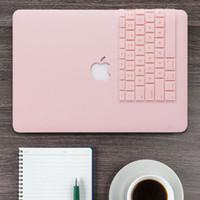 teclado duro al por mayor-Estuche rígido mate de cuarzo rosa + funda para teclado para Macbook Pro 13 SIN barra táctil