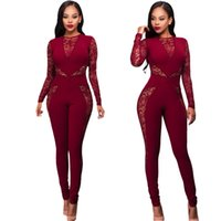 Wholesale Wholesale Sexy Plus Size Costumes - Wholesale- Fashion 2016 New Rompers Womens Jumpsuit Long Sleeve Lace Patchwork Playsuits Black Red Overalls Bodycon Sexy Costume Plus Size