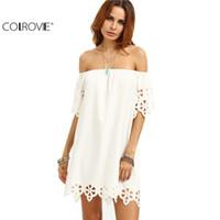 Wholesale White Dress Shift - COLROVIE 2017 White Cutout Off The Shoulder Shift Dresses Office Ladies Summer Half Sleeve Straight Mini Dress 17309