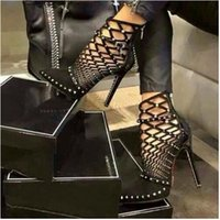 Wholesale Caged Heels - 2017 Gladiator Roman Sandals Summer Rivets Studded Cut Out Caged Ankle Boots Stiletto High Heel Women Sexy Shoes Party Bootie