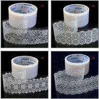 Wholesale Transparent Decorative Adhesive Tape - Wholesale- 2016 Freeshipping!Wholesale,New Transparent Lace tape (large)sticker Decorative Tape DIY stationery  Office Adhesive Tape