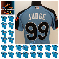 Wholesale 2017 All Star Men s American League Aaron Judge Francona Lindor Mike Trout Jose Ramirez Mookie Bett Carlos Correa Blue baseball Jerseys