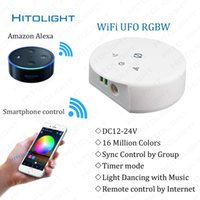 Wholesale Led Rgb Controller Wifi - DC12-24V Wifi RGBW RGB LED Controller for RGBW LED Strip Light IOS Android Smartphone Remote Control Music Mode Alexa Google Home Voice