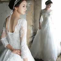 Wholesale Three Quater Length Lace Sleeves - 2018 New Sheer Neck A-Line Wedding Dresses Three Quater Sleeves Beads Appliques Lace Bridal Gowns Vestido De Novia