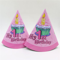 Wholesale Birthday Candle Hat - Wholesale-new 1st birthday candle pattern 6pcs pack kids girls birthday celebration decoration supplies hat party paper tricorn caps