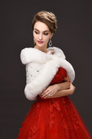 Wholesale Lace Shrug Ladies - Cheap Faux Fur Wedding Wraps Shrug Bridal Gowns Warm Shawls Adjustable Cape Stock Bolero For Ladies Formal Wear CPA975