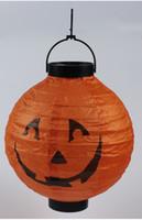 Wholesale Halloween Sites - Halloween Decoration Props LED Lights Paper Lantern DIY Hanging Pumpkin Lantern Halloween Makeup Party Site Decorate Glow Stick