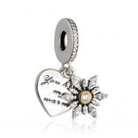 ingrosso fiocco di neve di perle-Autentico 925 sterling silver cuore fiocco di neve pendenti con pendenti perline ciondola il cuore perline di fascino per bracciali fai da te gioielli che fanno accessori