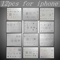 Wholesale Iphone Main Motherboard - 12PCS Motherboard IC Chip Ball Soldering Net Steel Plate for iPhone 7 Plus 7 6s 6 5s 5c 5 4s 4 Main Board CPU Repair Tool Set